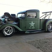 Slammed green hot rod
