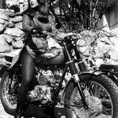 Anne Margaret on a Triumph. Not just a poser, she rode her own