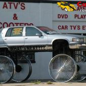Crazy car on huge wheels