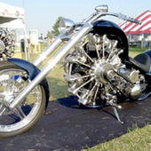 Motorcycle with a radial engine similar to those used in avaition.