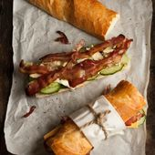 Bacon, blue cheese and avocado baguette