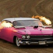 Pink Caddy on fire