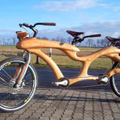 Here is an unique wooden bicycle