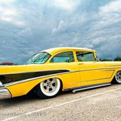 Custom Yellow 1957 Chevy