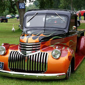 Flaming 1946 Chevy Truck