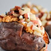 Apple Bacon Stuffed Sweet Potatoes